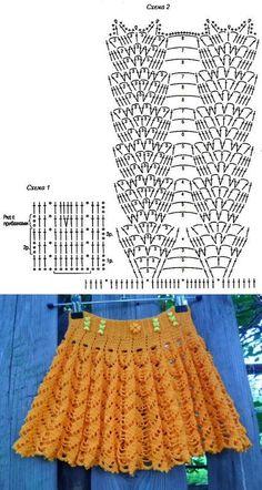 Fabulous Crochet a Little Black Crochet Dress Ideas. Georgeous Crochet a Little Black Crochet Dress Ideas. Crochet Skirt Pattern, Crochet Skirts, Crochet Diagram, Crochet Chart, Crochet Motif, Crochet Lace, Crochet Stitches, Crochet Designs, Crochet Bikini