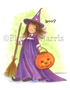 Cute Little Halloween Witch Decor - Wall art for Halloween Party - available with or without text and with customizbale hair color