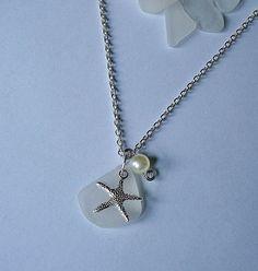 Sea glass necklace Starfish beach glass by EgyptianInspirations, $23.99
