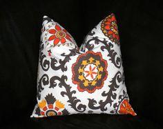 "Pillow SUZANI 24 inch Euro Sham tangerine ONE Decorator Pillow Cover orange, brown, gold yellow, white Geometric Modern 24"""