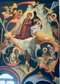 Religion, Religious Paintings, Biblical Art, Byzantine Icons, Religious Icons, Holy Family, Orthodox Icons, Mural Painting, Anime