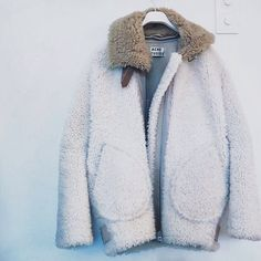 Acne Studios | Textured coat | Pale jacket | Contrast collar | fluffy furry |