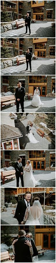 We got all the seasons during Jessica & Mike's spring Sky Bistro Banff wedding. It went from hot and sunny, to sleet, to full on white-out blizzard - but that's just the normal for spring in the mountains. Wedding Hire, Wedding Songs, Dress Wedding, Wedding Couples, Wedding Events, Weddings, Wedding First Look, Enjoying The Sun, First Dance