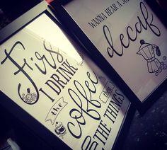Dwa plakaty do kuchni na specjalne zamówienie Spodobają się?! #coffee #coffeetime #decafjoke #kawosz #kawa #plakat #kawiarnia #walldecor http://ift.tt/2lrBp7v