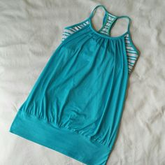 Lululemon Blue White No Limits Tank Top Shirt 4, 6 Great lululemon tank! I believe the style is No Limits. Not positive of the size, so I posted a photo of me wearing it... I would guess a 4 or 6 since I typically wear about a 4. I saw about 3 spots with tiny pulls *see photo for example. Bundle and save! lululemon athletica Tops Tank Tops