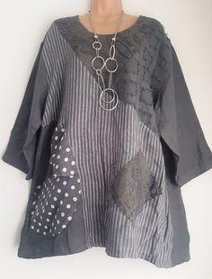 New Italian Lagenlook 100% Linen White Grey Spotty tunic top 16 18 20 22   eBay