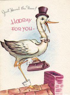 Just Heard The News! #vintage #babies #cards #stork