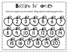 Pull out an apple from the basket.  Bingo dot the matching apple on your sheet.