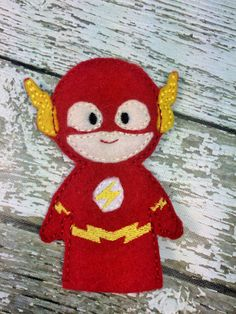 The Flash Finger Puppet Quiet Toy Busy Bag by RosieKEmbroidery Felt Puppets, Felt Finger Puppets, Hero Crafts, Craft Stick Crafts, Toddler Travel Activities, Pete The Cats, Bf Gifts, Traditional Toys, Felt Quiet Books