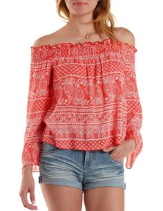 Bell Sleeve Off-the-Shoulder Paisley Top by Charlotte Russe - Coral