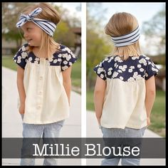 *PDF Sewing Pattern* The Millie Blouse is a sweet button up blouse with a soft gather along the front and back yoke. With yoke detail and dolman st...