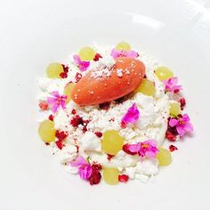 Goat milk mousse, aloe Vera lime purée , lime scented crushed meringue, strawberry sorbet #theartofplating #chefstalk by Pastry Chef Antonio Bachour, via Flickr
