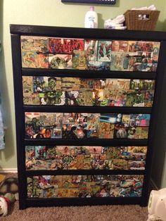 Diy Boys Avenger themed dresser using comic strips and mod podge. My son loves it!