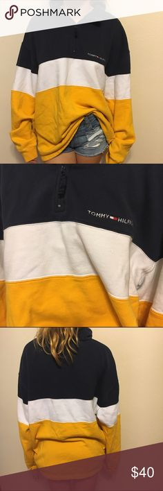 Tommy Hilfiger half zip classic yellow white blue Tommy Hilfiger classic colors half zip. Extremely soft. Made for men but perfect for an oversized look on a woman. 26 arm to arm 29 shoulder to hem. In good condition. Tommy Hilfiger Tops Sweatshirts & Hoodies
