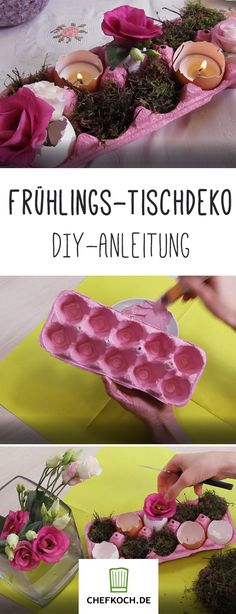 Frühlings-Deko selber machen Spring decoration for the table from an egg carton. # Spring crafts # for spring Easter Table, Easter Eggs, Homemade Tables, Decoration Table, Spring Decorations, Easter Crafts, Happy Easter, Diy And Crafts, Food