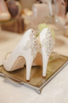 Emmy London Ivory Suede beaded heeled shoes available at www.emmylondon.com