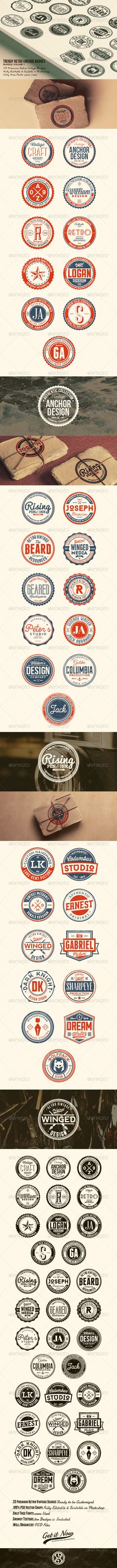 33 Trendy Retro Vintage Badges Bundle Volume 1 - Badges & Stickers Web Elements