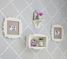I love the Silhouette Collection on potterybarnkids.com ~ only the shelf left...but might be cute for Ms room focal wall