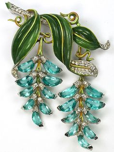 Trifari 'Alfred Philippe' Pave Enamel and Aquamarine Demilunes Double Pendants Wisteria Pin / rhodium plated base metal, rhinestones, enamelling Marked: Trifari with Crown, Pat Pend Reference: Patent is reproduced below (scroll down); designer A Philippe, dated 1942 / 3750