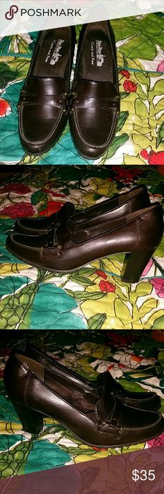 b9d2c48b4c5c Coach and Four Brown Heeled Loafers Brown leather. Approximately 3