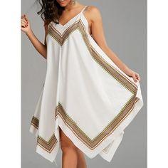 Printed Oversized Slip Handkerchief Dress - White - S Fashion 2020, Look Fashion, Cheap Fashion, Fashion Online, Fashion Site, Men Fashion, Handkerchief Dress, Spring Fashion Outfits, Dress Sewing Patterns
