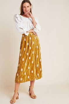 Elena Embroidered Velvet Skirt