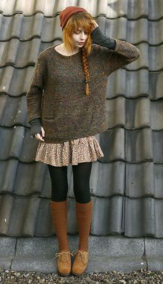 Shirt With Armwarmers!, Sweaters With Pockets, Floral Skirt, Kneehighs, Shoes