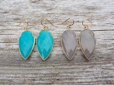 Chalcedony Gold Arrow Earrings Turquoise by JadeAndArrowV on Etsy
