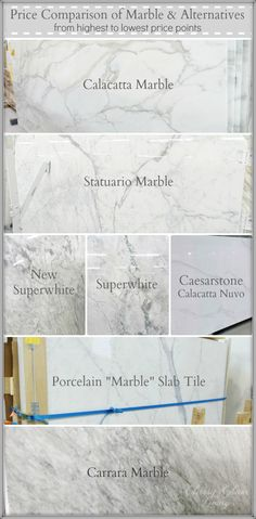 Our Marble Alternative Kitchen Counterop Revealed Price Comparison Of Marble Amp Alternatives From Highest To Lowest Price Points Classy Glam Living Countertop Concrete, Kitchen Countertop Materials, Kitchen Countertops, Marble Countertops Price, Porcelain Countertops, Kitchen Cabinets, Kitchen Redo, New Kitchen, Kitchen Ideas