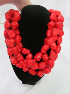 Multi Strand Red Turquoise Large Nugget Chunky Statement Necklace