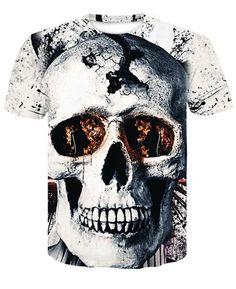 e693fc6a 2018 New Mens Summer Skull Poker Print Men Short Sleeve T-shirt 3Detic –  eticdress