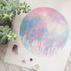 A pretty pastel pink, purple and blue print of original painting. Beautifully done by our artist in Nova Scotia. It's circular shape brings a modern and unique feel and a pop of color to your space. The evergreen trees give an earthy, peaceful vibe. - Ready to be framed - Available in 8x10 - Printed on high quality smooth finish paper - Color on monitor may vary slightly than actual print - Packed in protective sleeve with cardboard backing Note: Prints are made to order, please allow an…