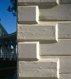 Rustication - all four walls of Mount Vernon are rusticated. Wood is cut and beveled at regular intervals to simulate stone blocks and sand is added to the surface to suggest the texture of stone.