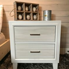 Side table makeover using Superior Paint Co. Shiplap and Barn Wood Side Table Makeover, Shades Of White, Barn Wood, Painting On Wood, Modern Farmhouse, Paint Colors, Furniture, Design, Home Decor