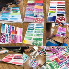 WATER COLOR!🌈💦 My Art Comp I class enjoyed the process of experimenting with watercolor paints and different elements. We used dry brush, wet brush, salt, masking tape, rubber cement, oil pastel, crayon and plastic wrap.  #ArtTeacher