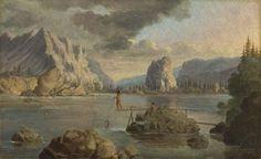 A Valle delle Cascate del Columbia River, con nativi che pescano.
