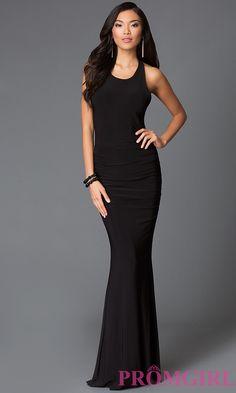 Image of floor length black scoop neck criss cross strap back dress Front Image