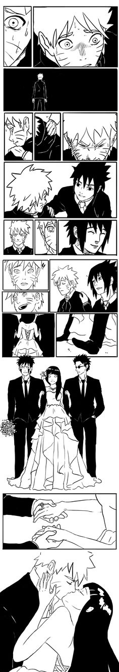 NaruHina Wedding. Just the sight of Hinata is warming those cold feet up. #naruto