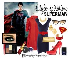 """Style-spiration: Superman"" by halloweencostumesdotcom ❤ liked on Polyvore featuring Armani Collezioni, Lanvin, Hervé Léger, Calvin Klein, Tory Burch, Blydesign, Aspinal of London, Butter London, Koh Gen Do and Lancôme"