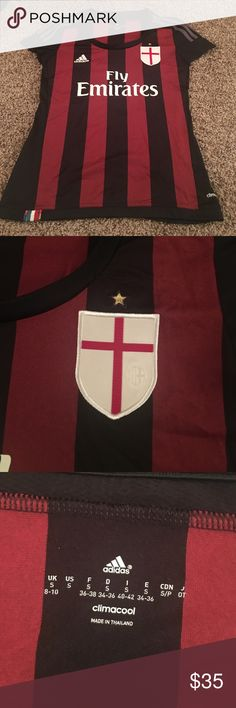 HALF PRICE LIMITED TIME! AC Milan women's jersey Only worn once! Like new. Adidas Tops