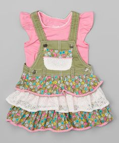 Nannette Girl Pink Tee & Green Floral Ruffle Overalls - Toddler & Girls | zulily