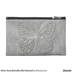 Silver Grey Butterfly Silk Textured Travel Accessories Bags