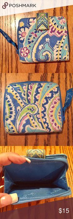 "Vera Bradley Wallet in Capri Blue Vera Bradley Wallet in Capri Blue. Has zip space for change plus paper money and 6 ID holders. 4x4 1/4"" Vera Bradley Bags Wallets"