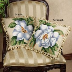 Magnolia Decorative Needlepoint Pillows