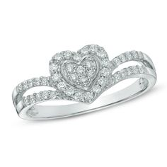 1/3 CT. T.W. Diamond Heart Duchess Ring in 10K White Gold $280