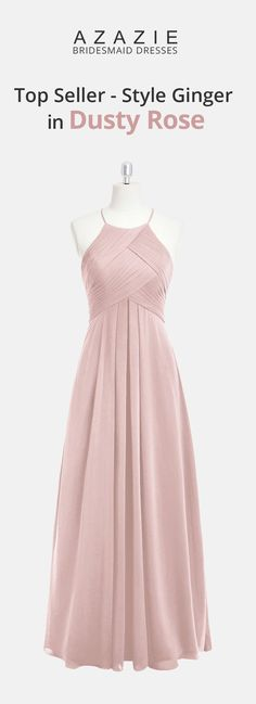 Ginger is one of our bestsellers. This stunning floor-length gown has an A-line cut in elegant chiffon. It features a halter neckline with a jewel button to secure the straps in the back. Available in full size range and custom sizing. Dusty Rose Bridesmaid Dresses, Dusty Rose Dress, Dusty Rose Wedding, Wedding Flowers, Trendy Dresses, Elegant Dresses, Prom Dresses, Wedding Dresses, Floor Length Gown