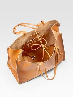 Maison Martin Margiela Washed Leather East-To-West Tote Bag - Camel