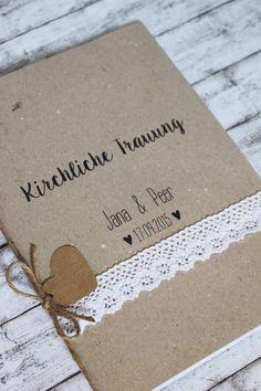 """Hochzeitsdeko - Kirchenheft """"lace heart"""" - ein Designerstück von KartenliebeHamburg bei DaWanda"""