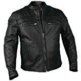 Hot Leathers Men's Heavyweight Black Leather Jacket with Double Piping (Black, Large)