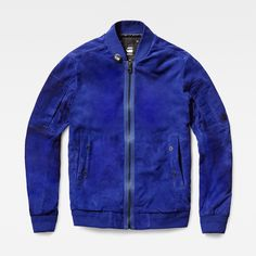 Make this supple suede bomber the centerpiece of your wardrobe this season. Presented in a vivid shade of blue, it's a fresh take on suede.
